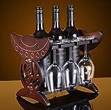 KQS-XYT Portacini di vino rosso Decorazioni desktop di cremagliera in legno massiccio a doppio uso
