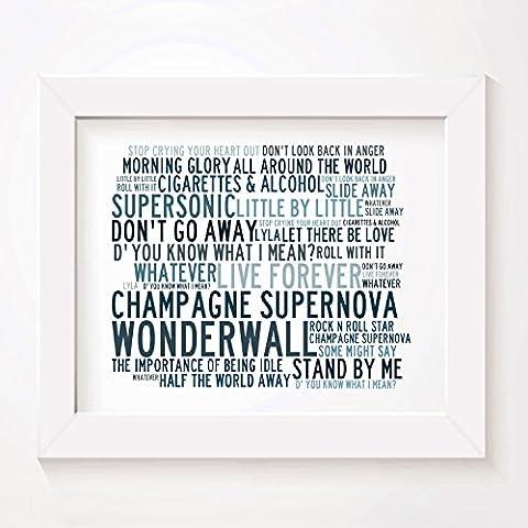 `Crystalline` Kunstdruck Poster - OASIS - Unterzeichnet und Nummerierten Limitierte Auflage Singles Typografie Ungerahmt 25 x 20 cm (10 x 8 inch) Wand Kunst Druck Text Lyrisch Grafik Plakat - Song Lyrics Art Print