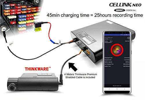 Cellink NEO - Faster and Smarter Battery pack with built-in Bluetooth - SPLICED OUTPUT VERSION (for Thinkware or Blackvue Dashcams) - for Dash Cam, Samsung LiFePO4 (+THINKWARE SPLICED CABLE) (Low-voltage Pack Power)