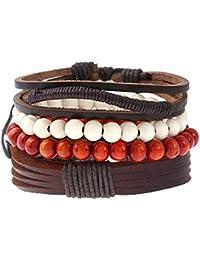 Mix 4 Brown Pulseras Wrap Hombres Mujeres Madera Perlas Étnicas Tribales Pulseras Cuero Wristbands
