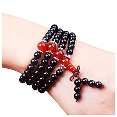 Mala Beads for Women as Beaded Bracelet Made of Black Obsidian and Red Agate, The Healing Chakra Stones, for Healing, Meditation & Fashion Jewelry (108 Beads, 4-Wrap)