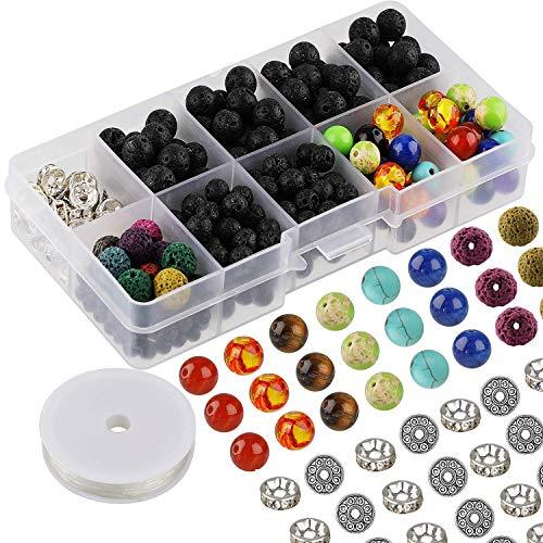 Mwoot 400 Stück Schwarz Lava Perlen für Armbänder und Halskette, Lava Stein mit Bänder zum Schmuckbasteln