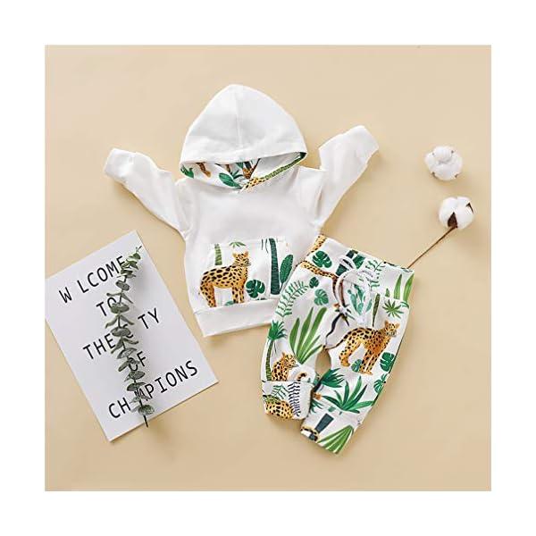 Kfnire [Conjunto de 2 piezas] Sudadera con capucha de leopardo + Pantalones Para Bebé 2