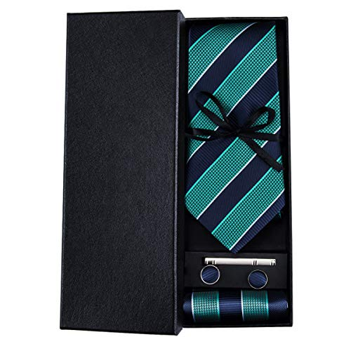 HYCZJH Classic Blue/Green Strip Mens Neckties 8.5cm Width Ties Mens Tie Slik Hankerchief Set Men Gift Box Ties