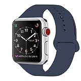 ZRO für Apple Watch Armband, Soft Silikon Ersatz Uhrenarmbänder für 42mm iWatch Serie 3/ Serie 2/ Serie 1, Größe S/M, Mitternacht Blau