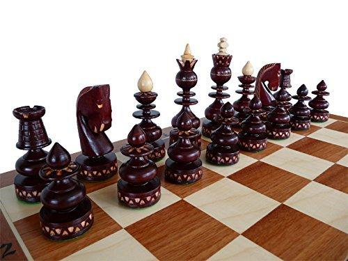Master of Chess Luxus BIZANT 59cm / 23in Intarsien aus Holz Schachspiel, Byzantium, handgefertigte Klassische Schachspiel mit Kirsche Schachfiguren