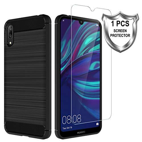 K&L LK Hülle für Huawei Y7 2019 / Y7 Prime 2019,[Anti Fingerabdruck] Flexibel Weich TPU Slim Gebürsteter Case Cover mit Panzerglas Folie[1 Stück] für Huawei Y7 2019 / Y7 Prime 2019 - Schwarz
