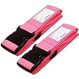 ✅ Cinghia per Valigie Bagaglio Cinture - viaggio cinghie bagagli imballaggio cintura valigia cinghie regolabile sicurezza (2 - Rosa)