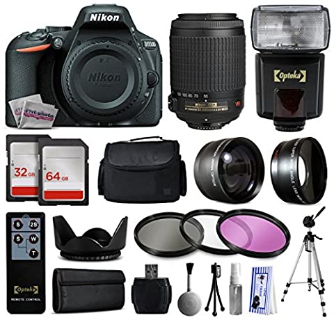 Nikon D5500 SLR Digital Camera (Body Only) 1544 + 55-200mm f/4-5.6G ED IF AF-S DX VR Zoom Lens + 96GB Memory + Case + 2.2x Wide Angle + 0.43x Telephoto + Filters + Full Size