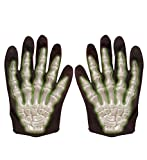 shoperama Kinder 3D Skelett Handschuhe fluoreszierend Hände Finger Knochen Halloween Horror Leuchtend Special Effect Glow in The Dark Neon