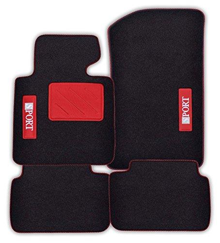 Fussmatten-Deluxe passgenaue Auto Fussmatten Autoteppiche Spotlight Stick Sport Absatzschutz Rot