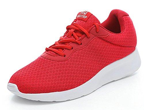 MAIITRIP Laufschuhe Herren Casual Sportschuhe Leichte Gym Sneakers Fitness Turnschuhe Mesh Sport Schuhe,Rot/Weiß,EU-43
