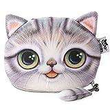 Flauschiger Geldbeutel (Geldbörse/Münzbörse) für junge Frauen & Mädchen / Damenportemonnaie mit süßem Katzenmotiv (Animal Print) inkl. Katzenohren und Schwänzchen (Reißverschluss) (Grau)