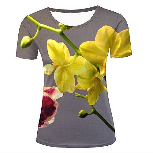 Womens 3D Printed Short Sleeve T-Shirts Pink and Yellow Orchids Graphics Casual Couple Tees XS (Short Womens Uniform Sleeve)