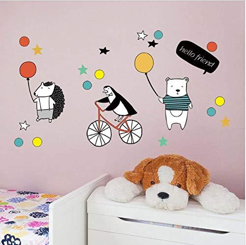 JXSTORE Wandaufkleber für Schlafzimmer Wohnzimmer Mädchen Junge Küche - Bärenigel-Pinguin-Gruß (Zu Halloween-gruß-karten Drucken)