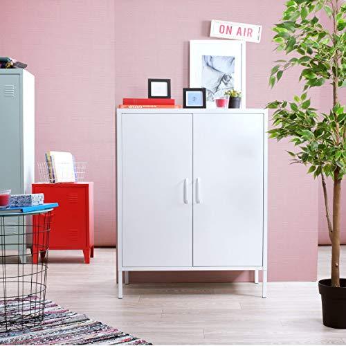 Yata Home Buffet Schrank Kommode Aufbewahrungsschrank aus Metall Stahl Türen Griffregale 3 Türen Schuhschrank für Zuhause Büro Küche Küche 31,5 x 15,7 x 40,2 in weiß -