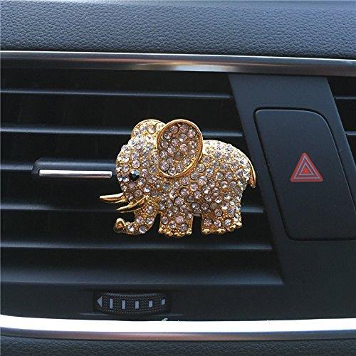DOOUYTERT Auto-Lufterfrischer im Elefanten-Design, Metall, mit Clip, goldfarben