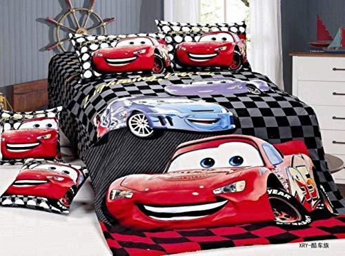 Lily Disney McQueen Cars Bettwäsche-Set Bettbezüge Einzelbett-Zwillingsgröße Schlafzimmer Dekoration Junge Kinder Baby Bett 2/3/4 Teile Blau Rot, Black Red Car Covers, Twin 4pc