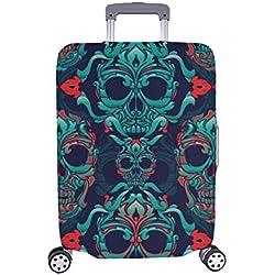 Cubierta de Maleta Protectora de Equipaje de Viaje de Spandex de Calavera Ornamental Maleta de Viaje 28.5 x 20.5 Pulgadas