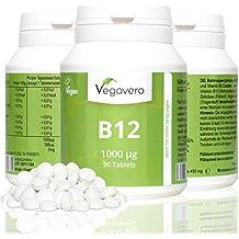 Vitamin B12 1.000 µg, B6 + Folsäure | 90 Tabletten | Sinnvolle B-Vitamin Kombination | Hochdosiert | Methylcobalamin | Vegan ohne künstliche Aromen und Gelatine | Vegavero: from Nature - with Passion - for You!
