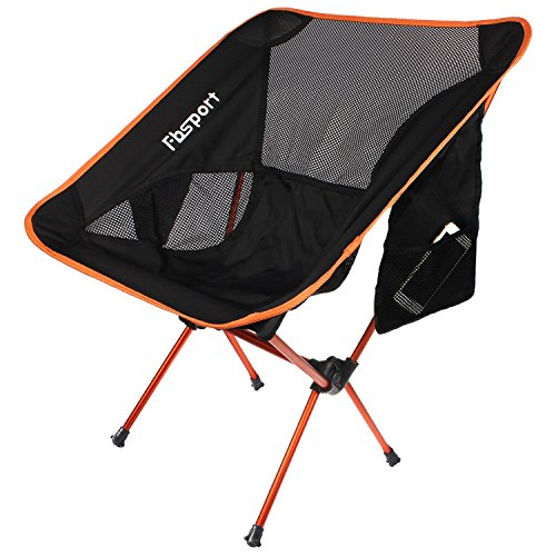Lightweight Folding Camping/Backpack Chair,Fbsport Compact & Heavy Duty (Supports 330 lbs)Portable Chairs For Beach, Camp, Backpacking, Outdoor Festivals,Includes wide feet. (Orange)