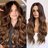 Long Brown Wig for Women Ombre Curly Wavy Synthetic Middle Part Natural Hair Wigs Wave Cosplay Natural Looking Heat Resistant