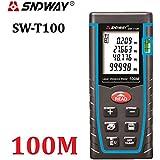 SNDWAY® - Medidor láser de área y distancia (40m, 60 m, 80m, 100m, infrarrojos, cinta métrica, nivel de burbuja)
