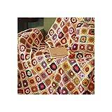 MIGUOR Manta de Ganchillo Hecha a Mano Estilo campestre, Manta de Tapiz de Aire Acondicionado, 150 x 100 cm, Lana,, 59in X 39.3in