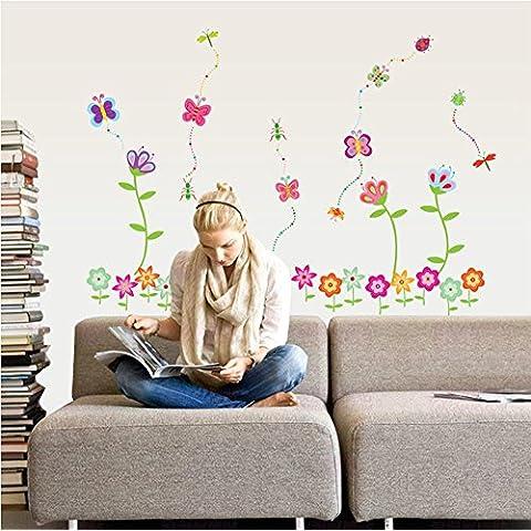 ufengke® Fiori Colorati e Farfalle Belle Adesivi Murali, Camera dei Bambini Vivai Adesivi da Parete Removibili/Stickers Murali/Decorazione Murale - Fiori E Farfalle