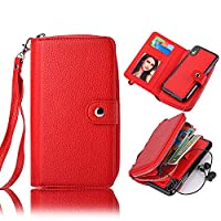 iPhone X Wallet Case,Vandot iPhone 10 [Large Capacity] Purse Case PU Leather Zipper Case with Money Pocket Credit Card Slots and Magnetic Detachable Slim Cover Case for iPhone X / iPhone 10 5.8 inch-Red