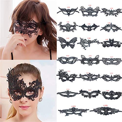 VJUKUBWINE Packung Von 20 Sexy Frauen Schwarzen Vintage-Spitze Masquerade Fantasievolle Kleid Masken Venezianischen Eyemask-Halloween Mardi Gras Party Maske