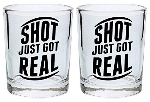 SHOT Just Got Real Geschenk rund Shot Glas schwarz (Real Shot Glas)