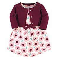 Touched by Nature Girl Organic Cotton Cardigan and Dress, Blush Blossom 2-Piece, 6-9 Months (9M)