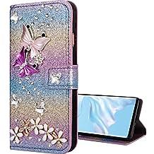 Nadoli Bling - Funda con tapa para Huawei Mate 20 Pro (piel sintética, función atril, cierre magnético), diseño de flores y mariposas, color rosa