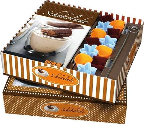 Buch-Box Schokolade: Rezeptbuch + 12 Förmchen und Pralinen-Tauchspirale