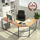 L-Shaped Corner Computer Desk Large Corner PC Laptop Study Table Workstation Home Office Wood & Metal, Wooden (Chair not Include)