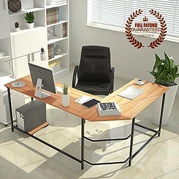 Kendan Alicorn Walnut Large Corner L Shape Computer Desk