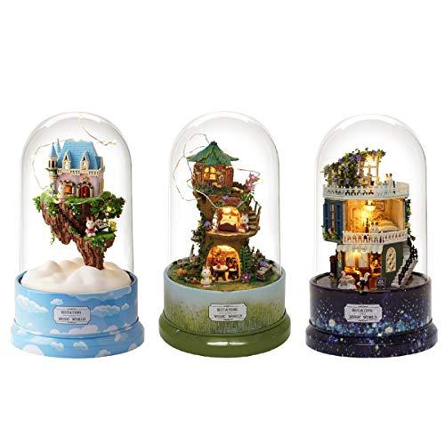 (Bluelover DIY Music Kleines Puppenhaus Miniatur Kit Rotierende Box Mit Staubschutz Kindergeschenke - B-026 Star Dreams)