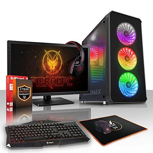 Fierce Marksman High-End RGB Gaming PC Bundeln - 4.6GHz Hex-Core Intel Core i5 8600K, 240GB SSD, 1TB HDD, 8GB, NVIDIA GeForce RTX 2080 8GB, Tastatur (QWERTY), Maus, 24-Zoll-Monitor, Headset 939383