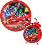2 TLG. Set Wanduhr & Wecker -  Disney Cars - Lightning McQueen - Nitro  - 25 cm groß - Uhr - Analog - Wohnzimmer & Kinderzimmer - für Jungen Kinder - Kinder..