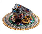 Unique Arts Beautiful decorated Multicolored Crystal Karwa Chauth Steel Puja Thali Set