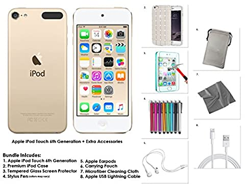 Apple iPod Touch 6G, 128GB, - Gold + Extra Zubehör **NEUES MODELL Juli 2015**