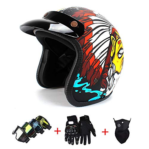 Harley Motorcycle Helmet Half Helmet Adult Road Race Mountain Personality Indian Pattern Motorcycle Helmet Motor Vehicle Protective Gear Men and Women,A0310,L(22.44