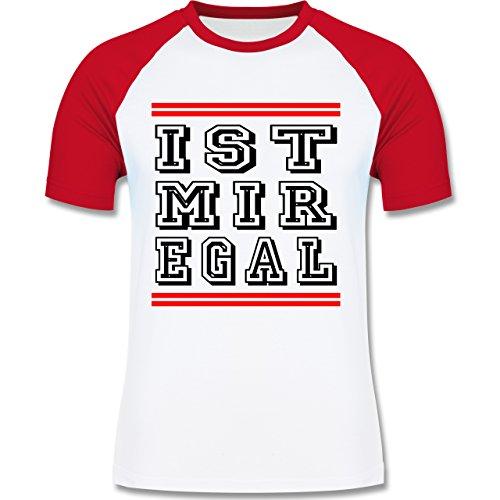 Statement Shirts - IST MIR EGAL - zweifarbiges Baseballshirt für Männer Weiß/Rot