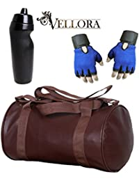 VELLORA Soft Leather Duffel Gym Bag (Brown) With Penguin Sport Sipper, Gym Sipper Water Bottle And Blue Color...