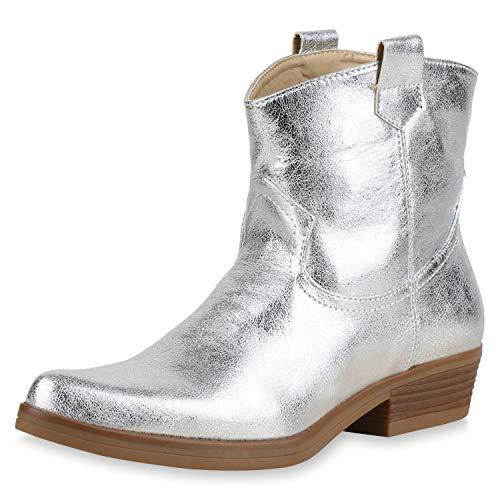 iefeletten Cowboy Boots Leder-Optik Stiefel Western Schuhe Spitze Booties Cowboystiefel Metallic 173416 Silber Metallic 37 ()