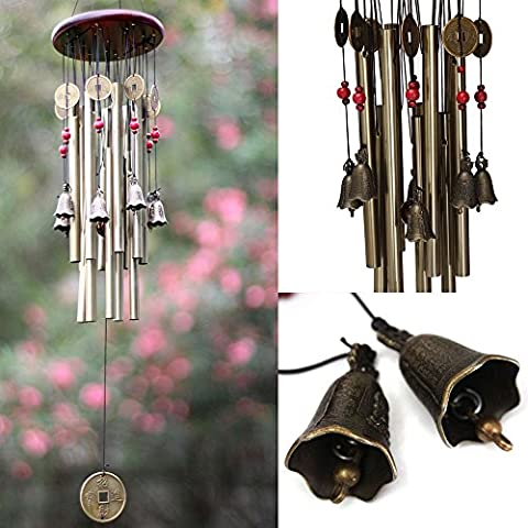 Sunfire Feng shui Windchimes legno, metallo e campane di decorazione casa Decrotive 84 cm