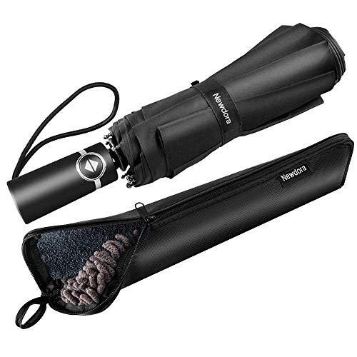 Newdora ombrello portatile automatico antivento, ombrello pieghevole compatto resistente leggero con custodia impermeabile e 10 stecche rinforzate in teflon, ombrello da viaggio per uomini e donn