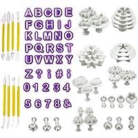 CRMICL Fondant Tools Set 84 piezas Herramientas de decoración de pasteles Fondant Cutters Tools Rose Flower