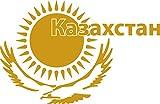 GRAZDesign 630236_57_820 Wandtattoo Design Wohnzimmer Kasachstan Flagge Wappen Adler Sonne Länder Welt (87x57cm//820 Mustard)